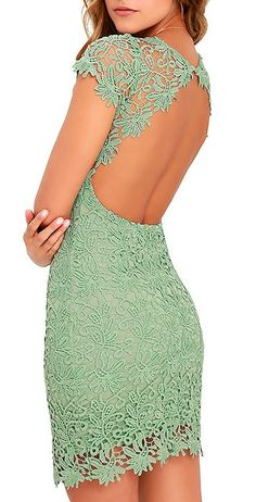 We admire any girl who can put together a great outfit, but honestly, the Hidden Talent Backless Sage Green Lace Dress makes it easy! This beautiful bodycon dress has sheer cap sleeves and a backless design.  #lovelulus