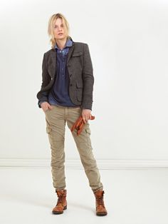Peak Performance Fall Casual Collection. Model showing Joan Blazer in Classic Tweed Fabric and Madde pants