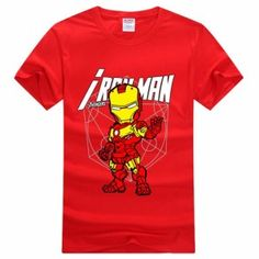 Red The Avengers Ironman Short Sleeve Tshirt