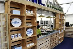 pop up cafe wooden crates