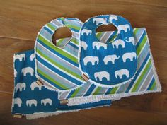 Organic Elephant & Stripe Baby Bibs and Burp Cloths, super absorbent set of 2 infant bibs and 2 burp cloths in the fabrics Mod Basics Ellie in Blue $40.00