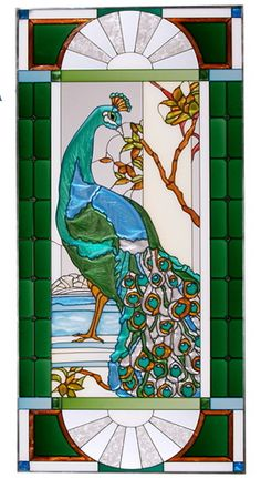 Peacock Stained Glass Art Glass Window Panel