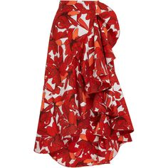 Johanna Ortiz Mercedes Cotton Poplin Skirt (3.758.505 COP) ❤ liked on Polyvore featuring skirts, bottoms, print, red wrap skirt, high rise skirts, patterned skirts, high-waisted skirts and red high waisted skirt