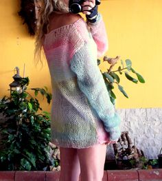 Hand Knit Tunic Womens Blouse Loose Fit Boho Sweater in Pastel Colors Oversized Off Shoulder Top Pinks & Blues Hippie Boho Indie Top
