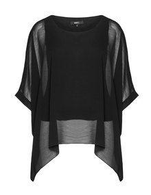 DNY Chemise mousseline manches kimono in noir