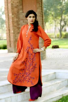 Orange Kurti with Palazzo Pants