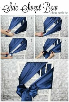 How to tie a Side-Swept Bow chair sash! Classy spin on regular chair bows. Wedding Chair Decorations, Wedding Chairs, Wedding Chair Sashes, Wedding Chair Covers, Ribbon Decorations, Wedding Seating, Banquet Chair Covers, Event Design, Design Design