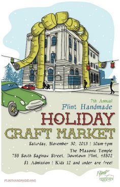 2013 Holiday Craft Market Poster (Designed by Yasmin Ladha • www.yasminladha.com)   ••••••••••••••••••••••••••••••••••••••    #craft #craftfair #craftshow #indiecraftshow #arts #michigan #flint #flinthandmade #handmade #craftshowposter #graphicdesign #holidaycraftmarket