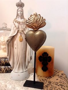 Religious Ex Votos Milagros Flaming Heart Tin by lamoneeboutique