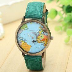XINIU quartz women watches men Fashion Global Travel By Plane Map Watch Women Reloj Mujer Relogio Feminino erkek kol saati