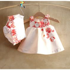 SET-Baby Girl Clothes-Ivory white striped yellow cotton Dress... (€50) via Polyvore featuring etsy treasury