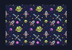 Seamless Starship Vector Pattern