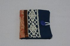 Sewing Needle Case in Dark Blue and Lace £7.50