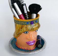 Makeup brush holder Makeup organizer Princess decor by RecycoolArt,