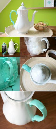 Gingered Things - DIY, Deko & Wohndesign: Teekanne mit Farbakzent