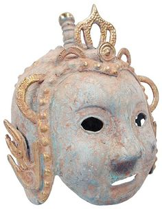 Sadigh Gallerys Asian Bronze Helmet Mask 1700's  AD