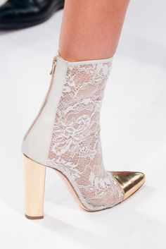 Balmain-S/S 2014 white lace ankle boot (booties) with gold details