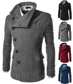 Men's Asymmetric Wool Jackets Stylish Military Coats Casual Outerwear Tops [AJK] #unbranded #Military