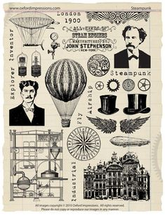 Steampunk rubber stamps Oxford Impressions