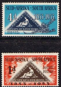 South Africa 1953 Stamp Centenary Set Fine Mint SG 144 5 Scott 198 9 Centenary of First Cape of Good Hope Stamp Other South African Stamps HERE Rare Stamps, Old Stamps, Union Of South Africa, African Union, Centenario, Out Of Africa, African History, Vintage Travel Posters, Stamp Collecting