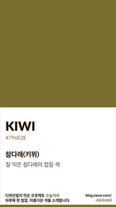 Color of today: Kiwi디자인빛의 작은 프로젝트 오늘의색은 하루에 한 빛깔, 아름다운 색과 재미있는 색... Flat Color Palette, Colour Pallette, Pantone Colour Palettes, Pantone Color, Color Patterns, Color Schemes, Colour Board, Color Swatches, Color Names