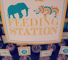 zoo party animal crackers and feeding station. Cute sign for by the food