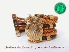 Bracelete Coruja fecho imã Sob medida.  Outras cores de courinho.