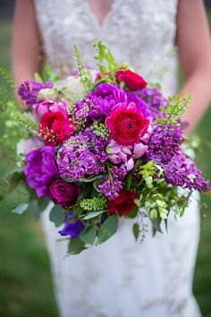 purple and berry bouquet by Southern Charm Wedding and Events