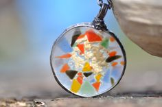 glass necklace colorful fused glass  made with fusing by zolanna