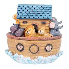 Noah's Ark Children's Resin Stone Musical Figurine Plays Tune Talk to the Animals