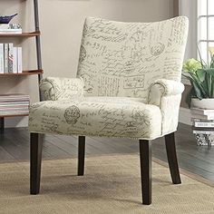 French Script Pattern Accent Chair by Coaster Furniture in Accent Chairs. Add a classic vintage look to your room with this French Script Pattern Accent Chair by Coaster Furniture. Featuring a slightly curved back, padded seating and cappuccino legs. Pattern Accent Chair, Script Accent Chairs, Coaster Fine Furniture, Coaster Furniture, Chair, Accent Seating, Furniture, Accent Arm Chairs, Accent Chairs