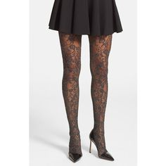 Women's Nordstrom 'Jeweled Vine' Tights (30 AUD) ❤ liked on Polyvore featuring intimates, hosiery, tights, net tights, floral stockings, nordstrom hosiery, floral tights and nordstrom tights