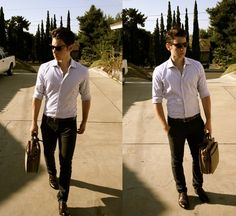 I love the fit of both the pants and the shirt. Perfect fit for his body type! Men, pay attention!