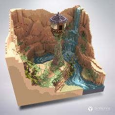 A small voxel 3d scene I modeled / textured /rendered with MagicaVoxel