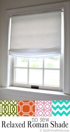 Easy window treatments to make. No Sew Relaxed Roman Shades made using a vinyl roller shade. Diy Window Shades, Diy Roman Shades, Roman Shades Kitchen, Bedroom Window Dressing, Relaxed Roman Shade, Bathroom Window Treatments, Diy Blinds, Blinds Ideas, Blinds For Windows