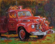 """Vintage Fire Truck, McLean County, Kentucky, 8""""x 10"""" oil by Cecile W. Morgan."""