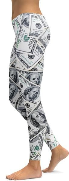 100 Dollar Bills Leggings - GearBunch Leggings / Yoga Pants
