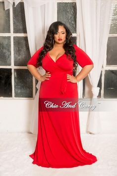 6255589064 Final Sale Plus Size Faux Wrap Dress with 3 4 Sleeve and Attached Tie in  Red. Chic And CurvyFaux ...