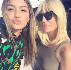 Donatella Versace joins Instagram with a Gigi Hadid selfie.