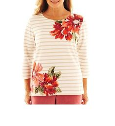 Alfred Dunner knit Top Cedar Creek 3/4 Sleeve floral Striped women's size PS NEW #AlfredDunner #KnitTop #Casual