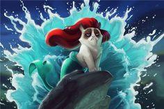 grump ariel #grumpycat #littlemermaid #disney #meme