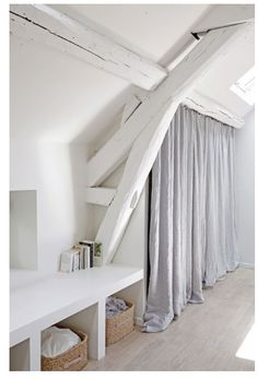 Loft = white beams and wardrobe curtains Home, Home Bedroom, House Styles, White Beams, House, Loft Room, House Interior, Attic Rooms, Home Deco