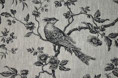 Mesange Black Toile De Jouy Birds 100% Linen Curtain Upholstery Fabric | eBay