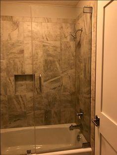 Frameless Shower Door-Chrome at tub