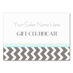 Salon Gift Certificate Aqua Grey Chevron Large Business Cards (Pack Of 100). Make your own business card with this great design. All you need is to add your info to this template. Click the image to try it out!