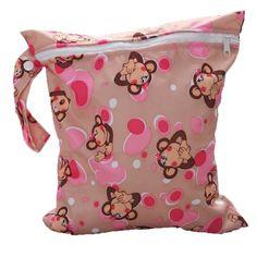 Bolsa de Pañales Reutilizable Bolsa con Cremallera Impermeable para mamá con Dibujo de Mono