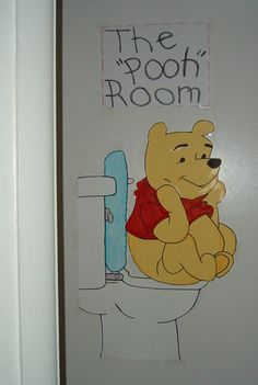 Winnie the Pooh bathroom sign for the door, how cute.