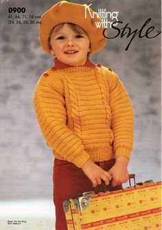 childrens sweater knitting pattern pdf DK cable slash neck jumper Vintage 24-30 inch DK light worsted 8ply Instant Download by Minihobo on Etsy