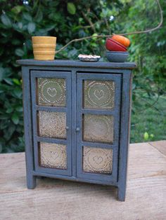 Miniature Blue Pie Safe Dollhouse Kitchen Hearts by redshedvintage, $26.00