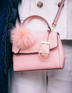 5382fe075d2f ~Winter in NYC - Michael Kors mini pink cross bag with fluffy pom pom~. -  How should we combine handbags and wallets